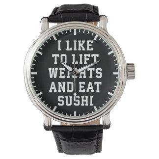 Heben Sie Gewichte an und essen Sie Sushi - Uhr