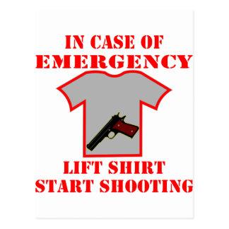 Heben Sie im Notfall Shirt-Anfangsschießen an Postkarte