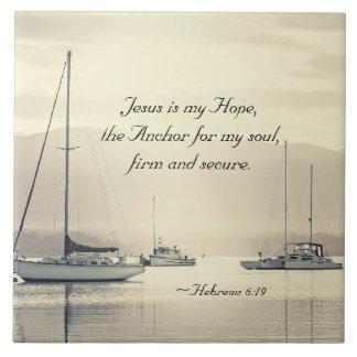 Hebräer-6:19 Jesus-Anker für mein Soul, Segelboote Fliese