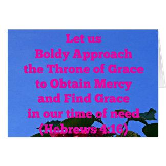 Hebräer ließen uns mutig dem Thron von Anmut uns Karte