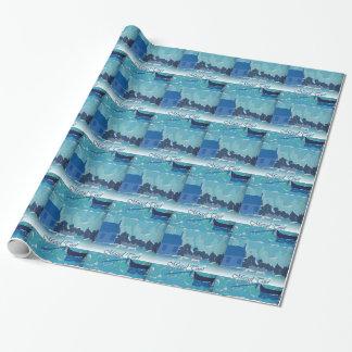 Hebräischer Geburtstags-blaues Geschenkpapierrolle
