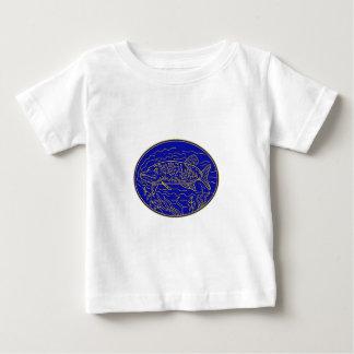 Hecht-Fisch-ovale Monolinie Baby T-shirt