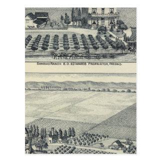 Hecken-Reihen-Weinberg, Fresno Postkarte