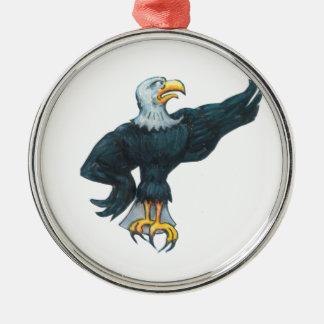 Heftiger Amerikaner Eagle Rundes Silberfarbenes Ornament