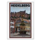 Heidelberg - Statue und Schloss Karte