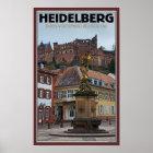 Heidelberg - Statue und Schloss Poster