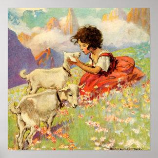 """""""Heidi und ihre Ziegen"""" durch Jessie Willcox Smith Poster"""