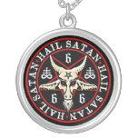 Heidnische Hagel Satan Baphomet Ziege im Pentagram Halskette Mit Rundem Anhänger