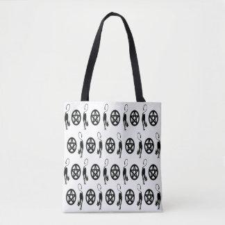 Heidnische Pentagramme und die schwarzen Katzen Tasche