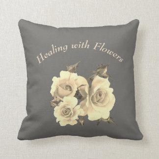 Heilen mit Blumen-Rosenentwurf Kissen