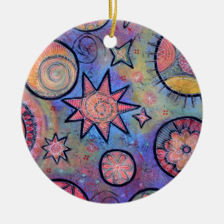 Heilendes helles abstraktes kosmisches Muster Keramik Ornament