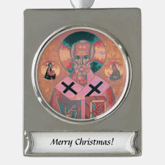 Heilig-Nicholas-Ikone Banner-Ornament Silber