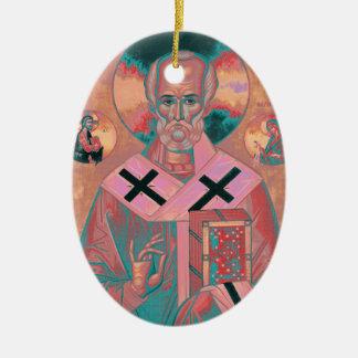 Heilig-Nicholas-Ikone Ovales Keramik Ornament
