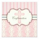 Heilige Bestätigungs-Vintage rosa Damast-Einladung