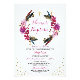 Heilige die BlumenKranz-Rosa-Taufe-Taufe laden ein 12,7 X 17,8 Cm Einladungskarte