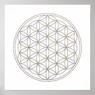 Heilige Geometrie-Blume des Lebens (V-Aubergine) Poster