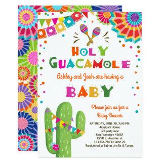 Heilige Guacamole-Fiesta-Babyparty laden Mexikaner Karte