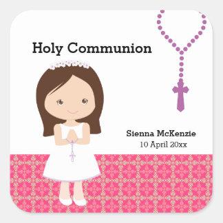 Heilige Kommunion Quadrat-Aufkleber