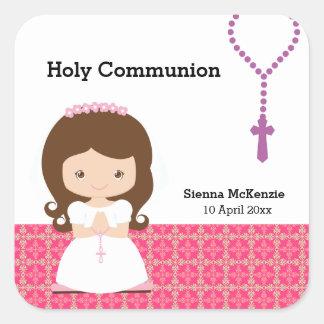 Heilige Kommunion Quadratischer Aufkleber