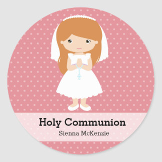 Heilige Kommunions-Mädchen * wählen Sie Ihre Runde Sticker