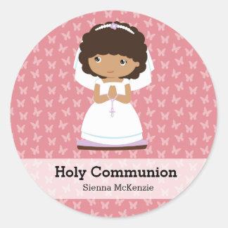 Heilige Kommunions-Mädchen * wählen Sie Ihre Runde Aufkleber