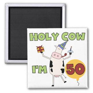 Heilige Kuh bin ich 50 Geburtstags-T-Shirts und Quadratischer Magnet