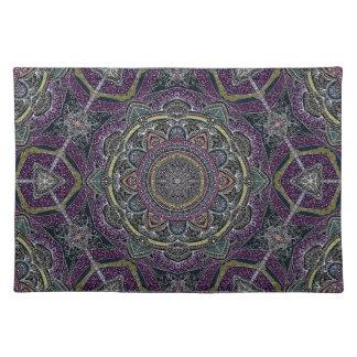 Heilige Mandalasterne und -spitze lila und schwarz Tischset