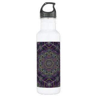 Heilige Mandalasterne und -spitze lila und schwarz Trinkflasche