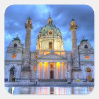 Heiligen Charless Kirche in Wien, Österreich Quadratischer Aufkleber