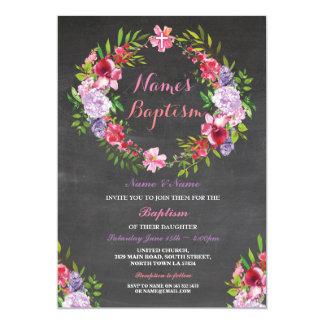 Heiligen die Blumenwreath-Rosa-Taufe-Blumen laden 12,7 X 17,8 Cm Einladungskarte