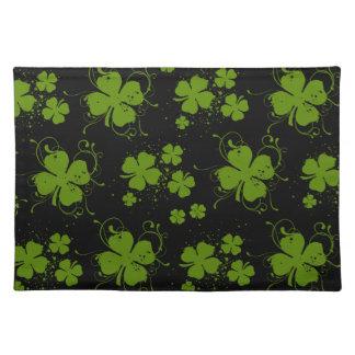 Heiligen Patrick Tag, Klee, Wirbel - schwarzes Stofftischset