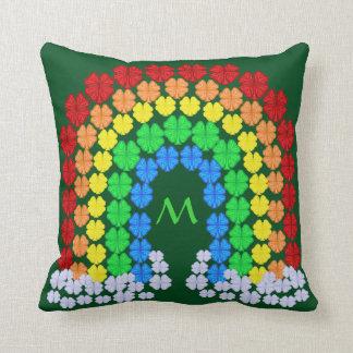 Heiligen Patrick Tagesklee-Regenbogen-Monogramm Kissen