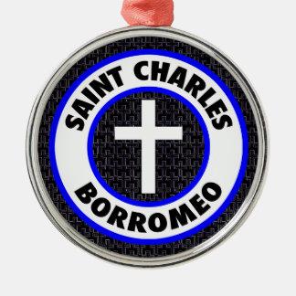 Heiliger Charles Borromeo Silbernes Ornament