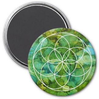 Heiliger Geometrie-Samen der Leben-Mandala-Art Runder Magnet 7,6 Cm