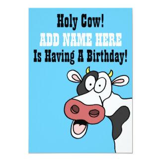 Heiliger Kuh-Cartoon Brithday laden ein 12,7 X 17,8 Cm Einladungskarte
