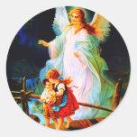 Heiliger Schutzengel Schutzengel und Kinder Runder Aufkleber