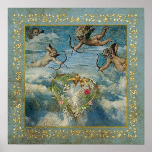 Heiliges Amor-religiöses Engels-Herz gealtertes Poster