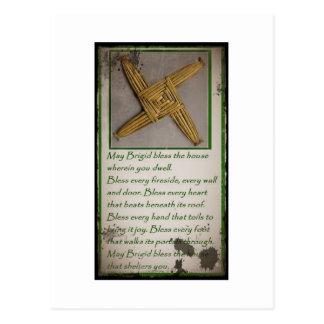 Heiliges Brigids Gebet und Kreuz Postkarte
