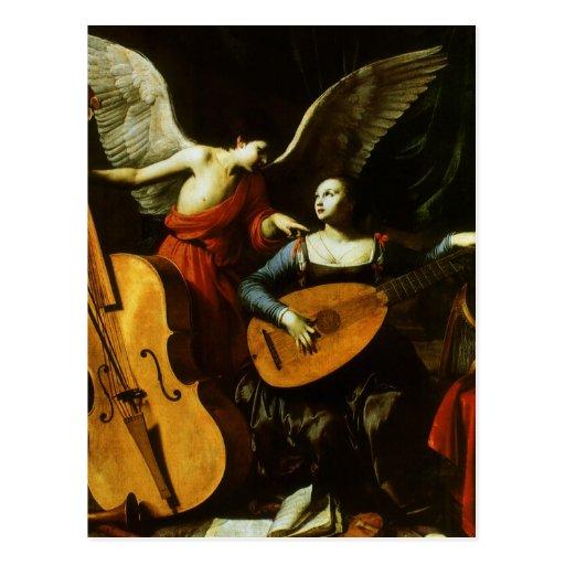 Heiliges Cecilia und der Engel durch Carlo Postkarten