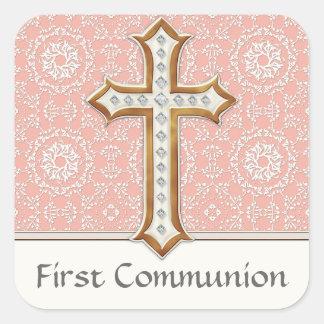 Heiliges erstes Kommunions-Goldgoldenes Querspitze Quadratsticker