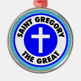 Heiliges Gregory das große Silbernes Ornament