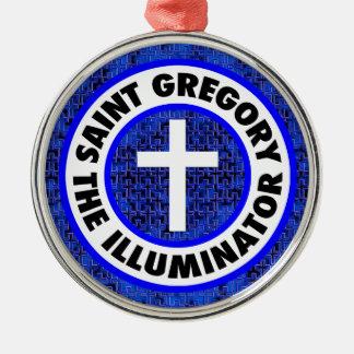 Heiliges Gregory die Belichtungseinheit Silbernes Ornament