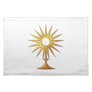 Heiliges heiliges Abendmahl im goldenen Monstrance Tischset