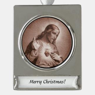 Heiliges Herz mit Kreuz Banner-Ornament Silber
