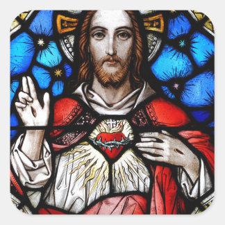 HEILIGES HERZ VON JESUS QUADRATISCHER AUFKLEBER