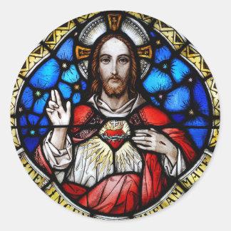 HEILIGES HERZ VON JESUS RUNDER AUFKLEBER