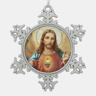 Heiliges Herz von Jesus Schneeflocken Zinn-Ornament