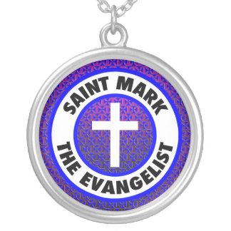 Heiliges Kennzeichen der Evangelist Versilberte Kette