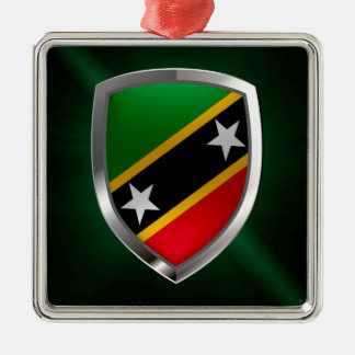 Heiliges Kitts und metallisches Emblem Nevis Silbernes Ornament