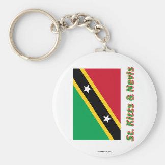 Heiliges Kitts und Nevis-Flagge mit Namen Standard Runder Schlüsselanhänger
